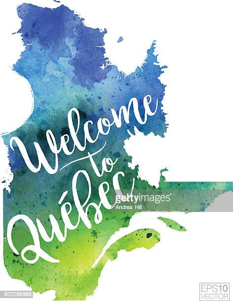 Welcome to Quebec Vector Watercolor Map