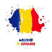 Welcome to Romania. Europe. Flag and map