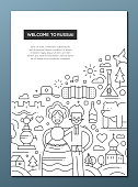Welcome to Russia - line design brochure poster template A4