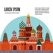 Welcome to Russia. St. Basil s Cathedral on Red square. Kremlin palace, vector stock flat illustration. Landscape design.