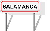 Welcome to Salamanca Spain road sign vector