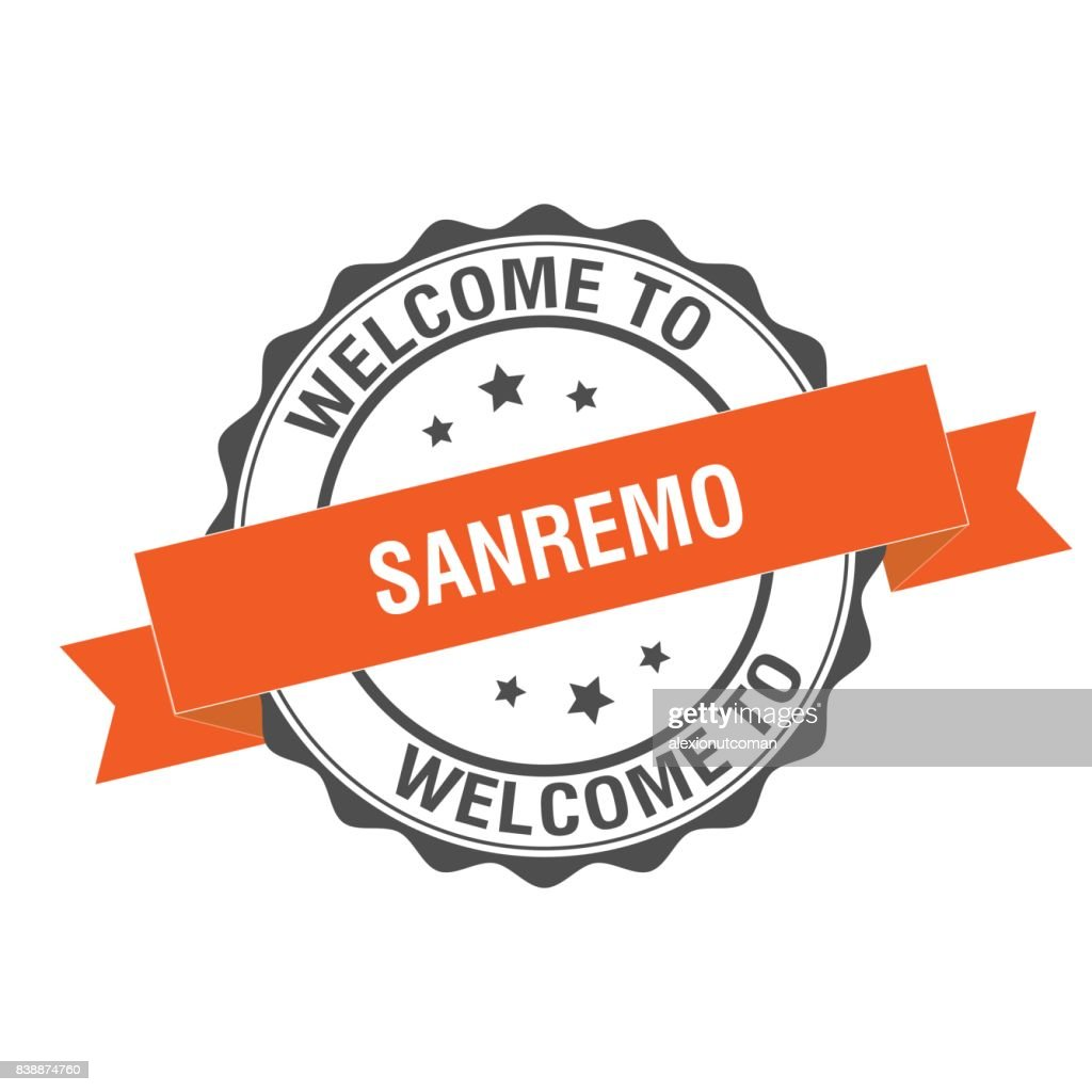 Welcome to Sanremo stamp illustration
