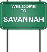 Welcome to Savannah, green signal vector