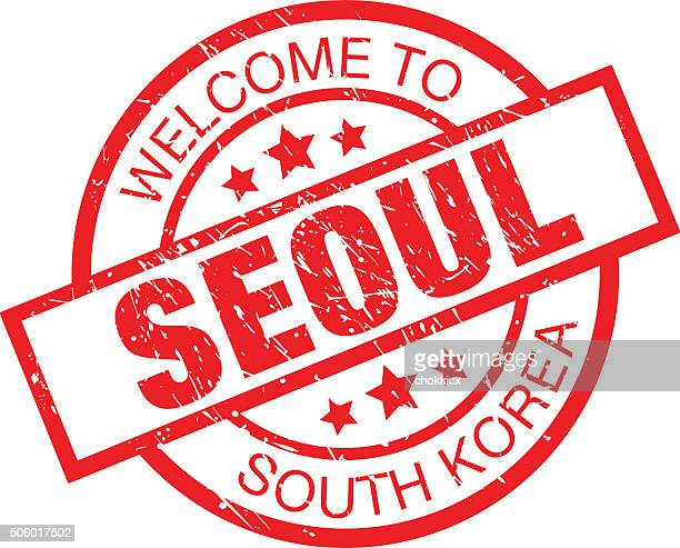 welcome to seoul - south korea label - seoul stock illustrations, clip art, cartoons, & icons