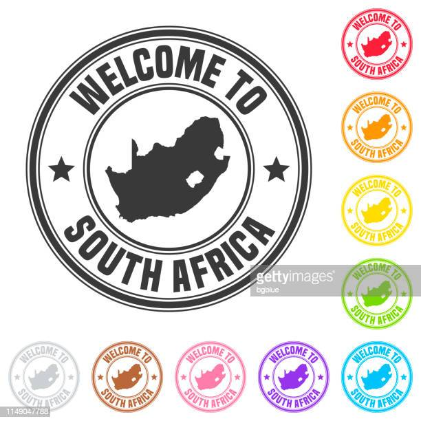 Welcome to South Africa stamp - Colorful badges on white background