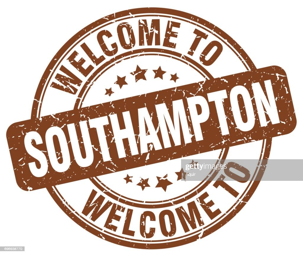 welcome to Southampton brown round vintage stamp