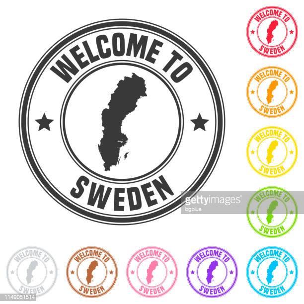 スウェーデンへようこそスタンプ-白い背景にカラフルなバッジ - ストックホルム県点のイラスト素材/クリップアート素材/マンガ素材/アイコン素材