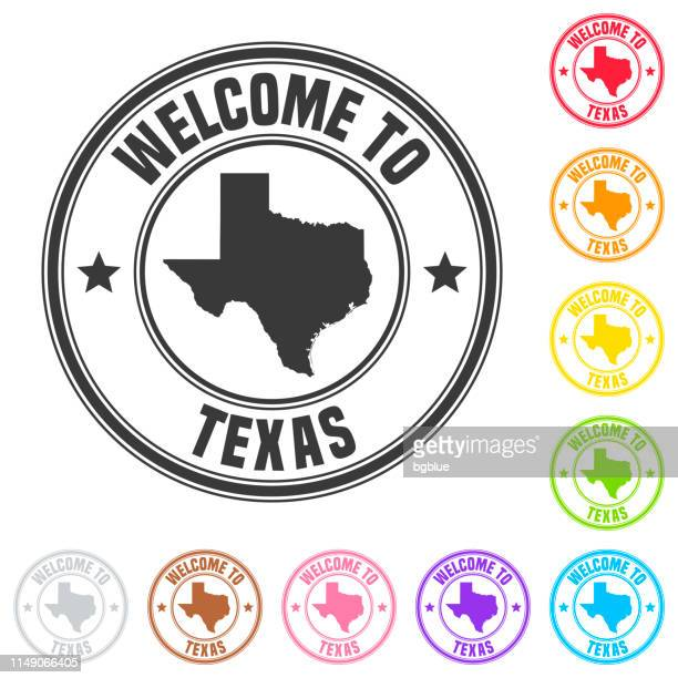 welcome to texas stamp - colorful badges on white background - texas stock illustrations