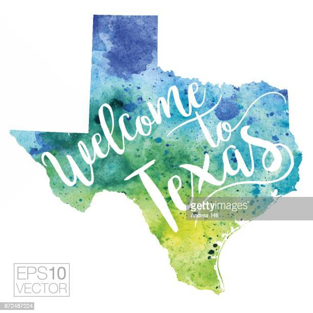 Welcome to Texas Vector Watercolor Map