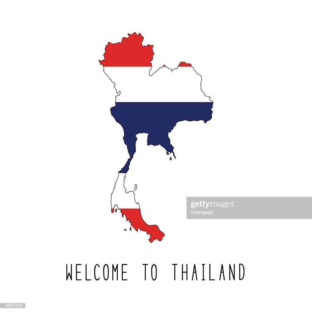 Welcome to Thailand text and Thailand flag on map