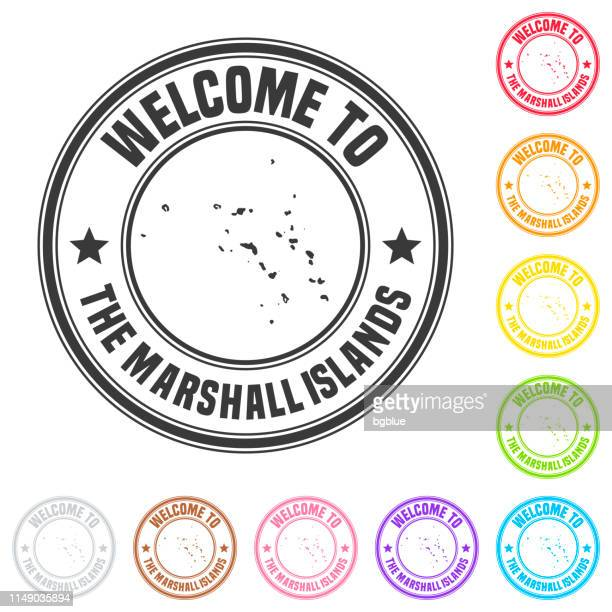 welcome to the marshall islands stamp - colorful badges on white background - marshall islands stock illustrations, clip art, cartoons, & icons