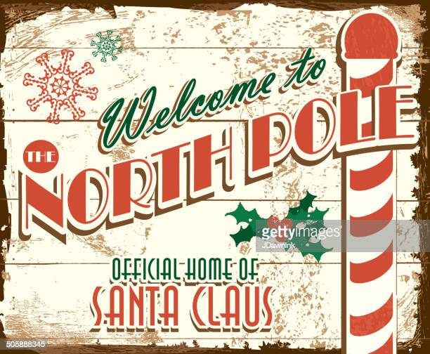 Welcome to the North Pole vintage wooden painted sign design