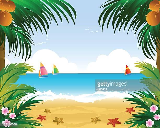 ilustrações, clipart, desenhos animados e ícones de bem-vindo ao paraíso tropical - idílico