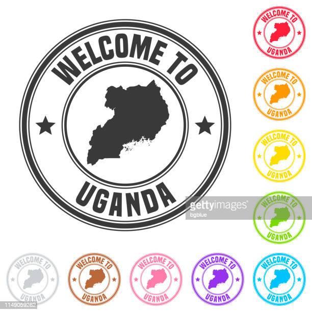 welcome to uganda stamp - colorful badges on white background - uganda stock illustrations, clip art, cartoons, & icons