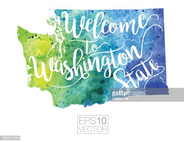 Welcome to Washington State Vector Watercolor Map
