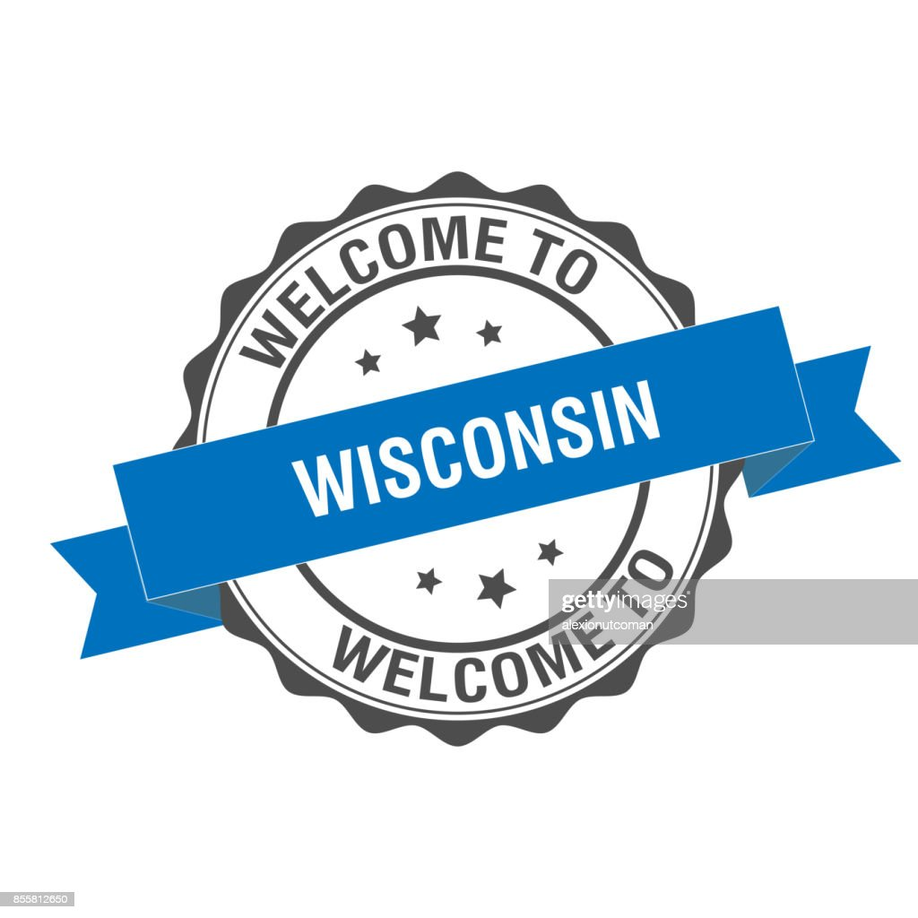 Welcome To Wisconsin Stamp Illustration Vector Art