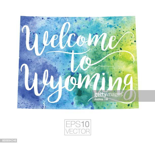 Welcome to Wyoming Vector Watercolor Map
