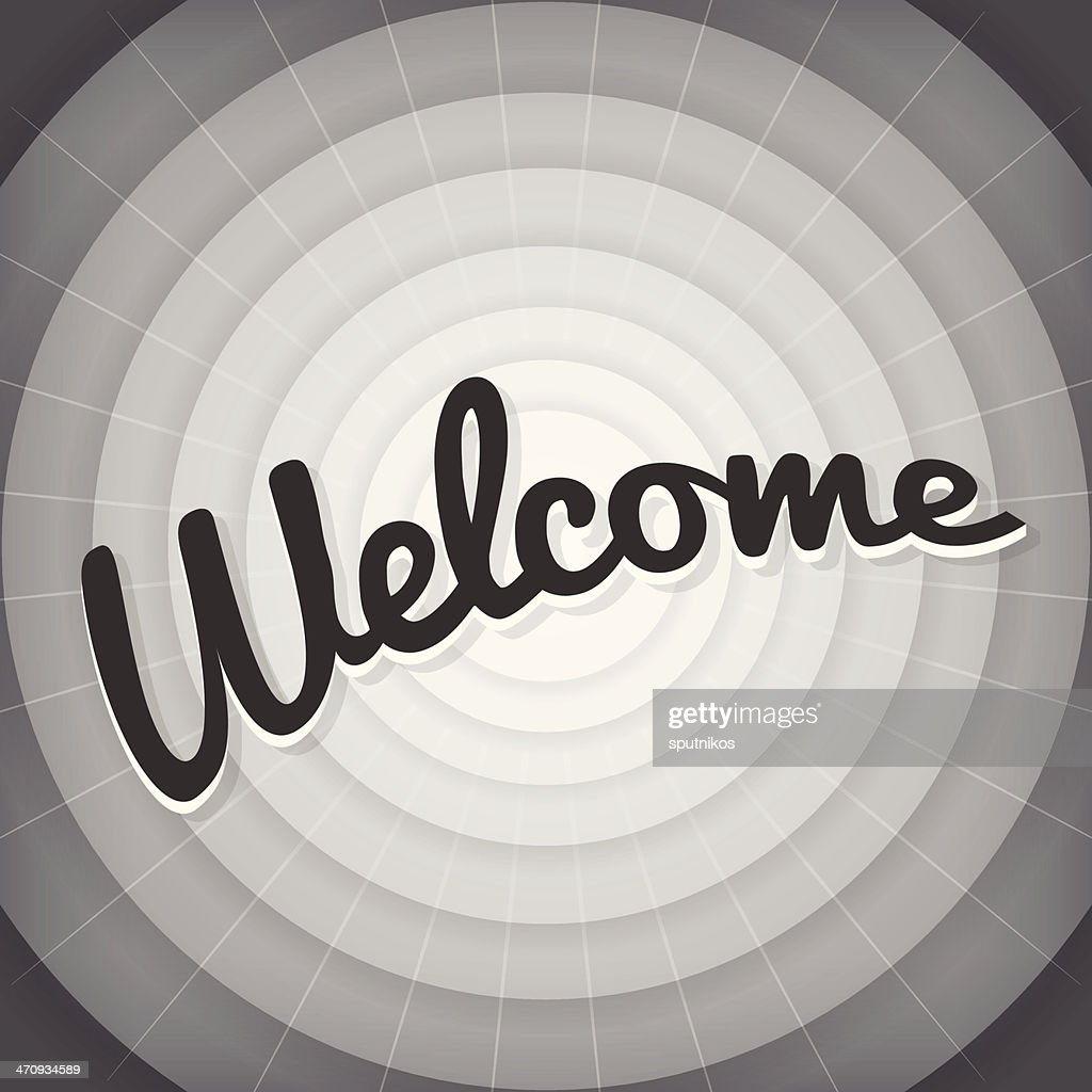Welcome typography BW old movie screen