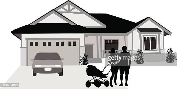 welcome vector silhouette - bungalow stock illustrations, clip art, cartoons, & icons