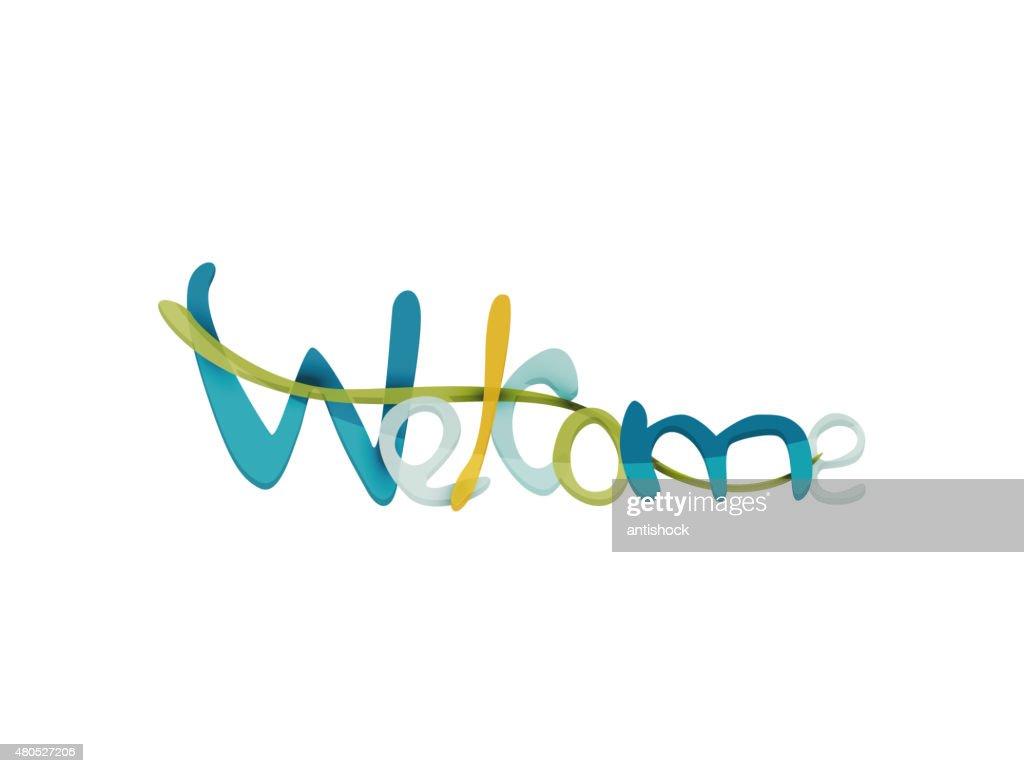Parola di benvenuto, attratti scritta elementi tipografici : Arte vettoriale