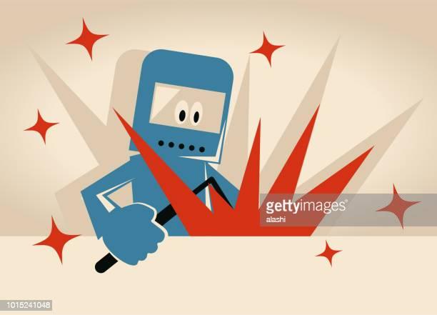 ilustraciones, imágenes clip art, dibujos animados e iconos de stock de soldador detrás de papel en blanco se concentran en la soldadura industrial - soldar