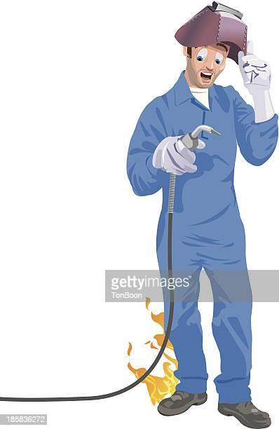 ilustraciones, imágenes clip art, dibujos animados e iconos de stock de soldador pantalón de fuego - soldar