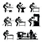 Welder Worker using Metalworking Steelworks Tools and Equipment