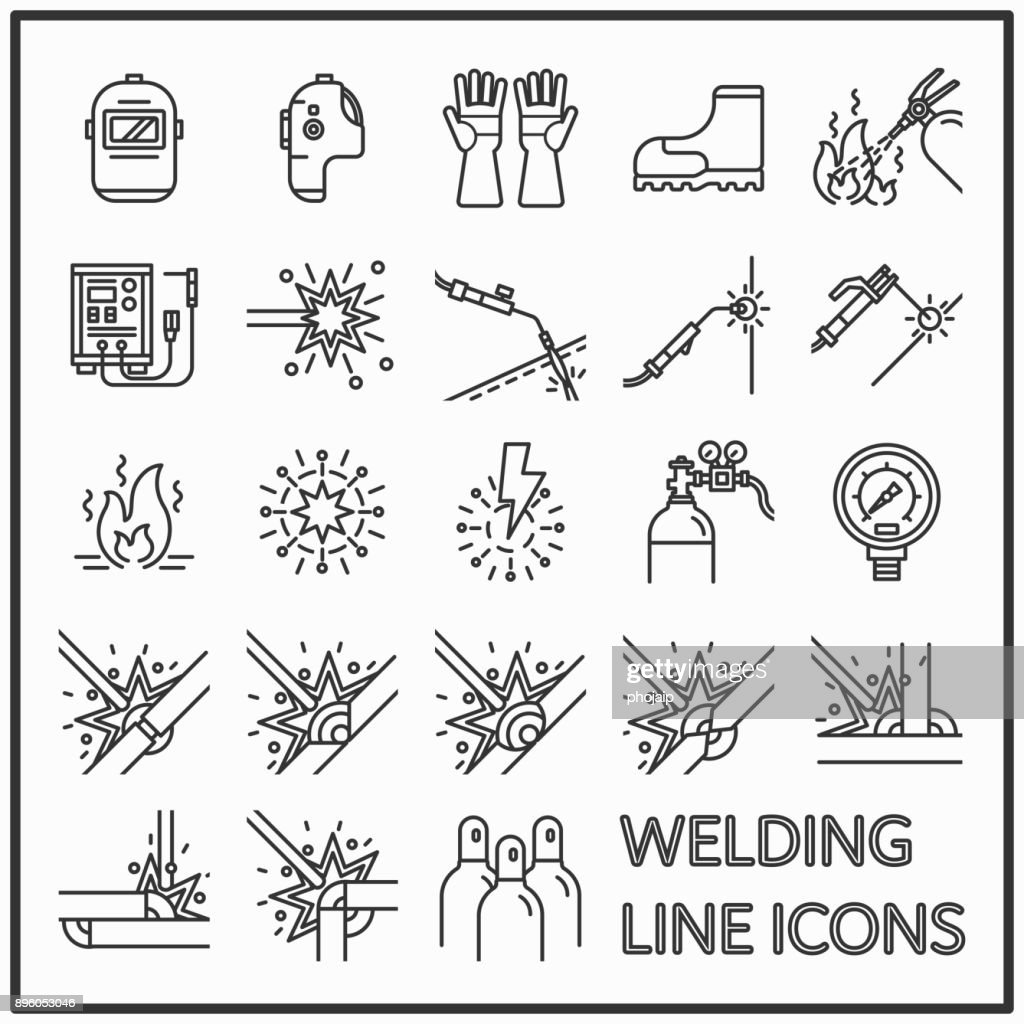 Welding line icon graphic design, Set of welding and safety equipment line icons