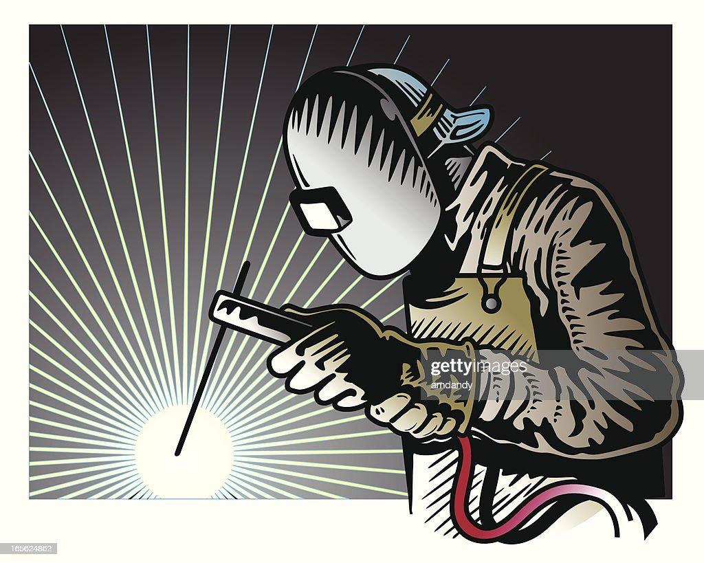 Hombre de soldadura : Ilustración de stock