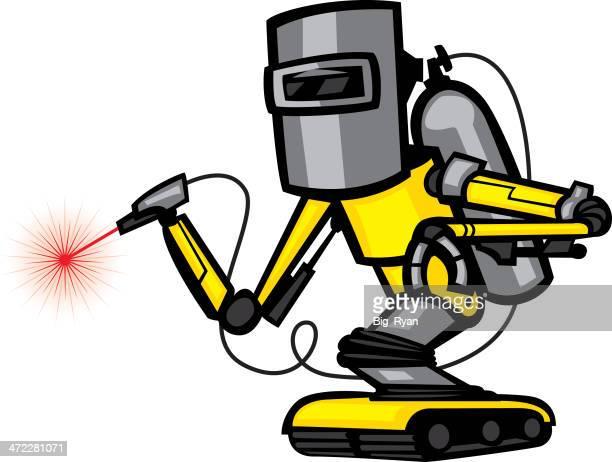 ilustraciones, imágenes clip art, dibujos animados e iconos de stock de robot de soldadura - soldar