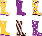 Wellington fashion boots isolated on white - yellow & pink