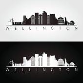 Wellington skyline and landmarks silhouette, black and white design, vector illustration.