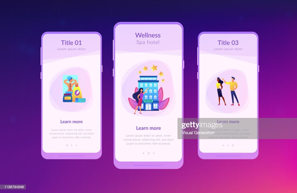 Wellness and spa hotel app interface template.
