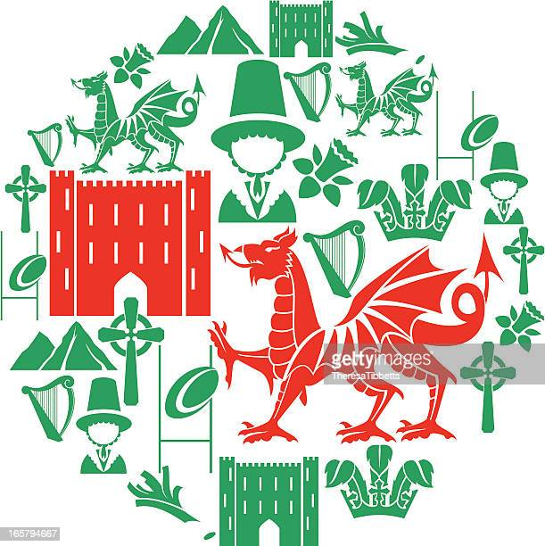welsh icon set - wales stock illustrations