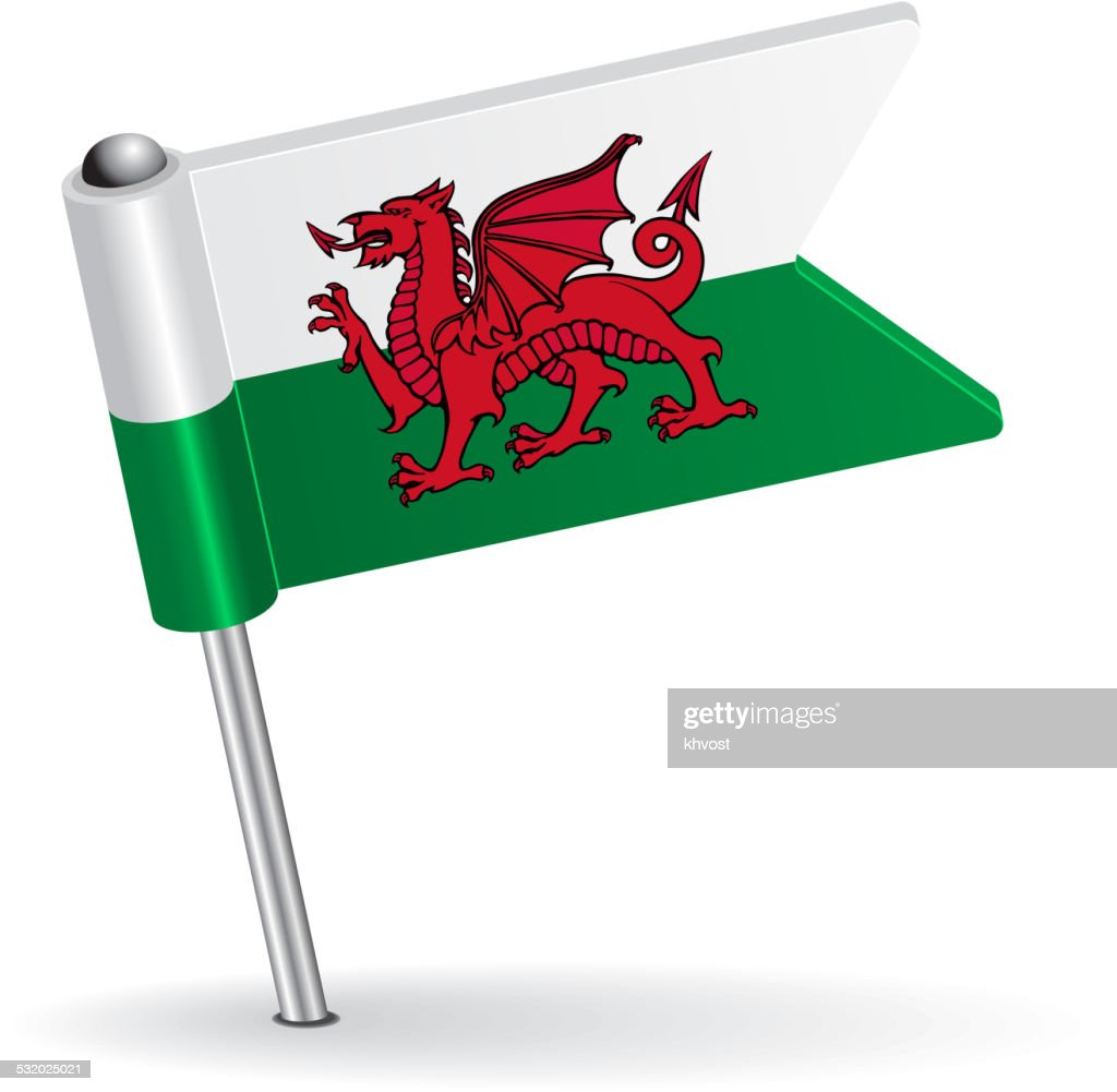 Welsh pin icon flag. Vector illustration