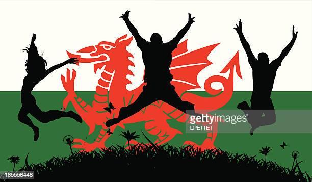 welsh pride - welsh culture stock illustrations