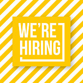 We're hiring. Vector illustration. White text on yellow background