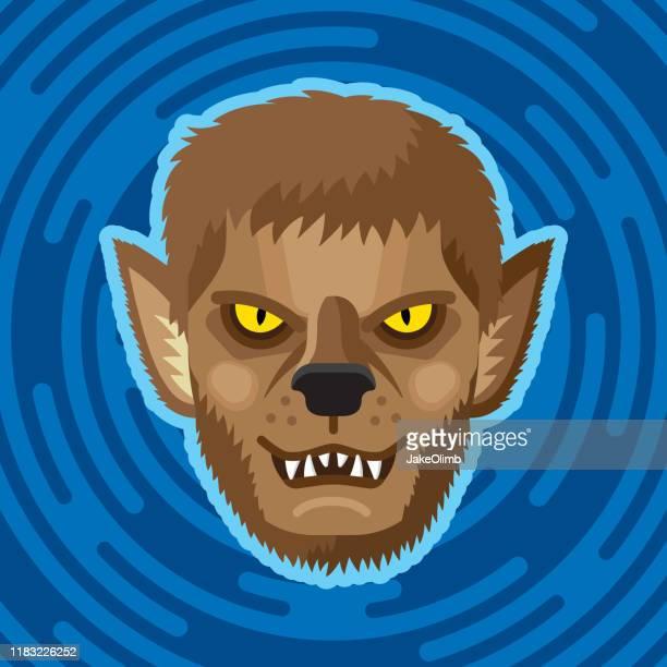 ilustrações de stock, clip art, desenhos animados e ícones de werewolf face flat - lobisomem