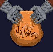 Werewolf Holding a Halloween Candy Basket.