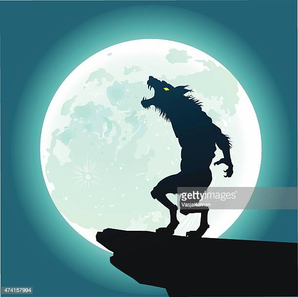 werewolf howling at the moon - howling stock illustrations, clip art, cartoons, & icons
