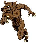 Werewolf or wolf mascot running