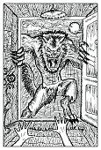 Werewolf or wolfman against full moon