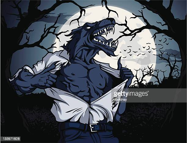 werewolf scene - howling stock illustrations, clip art, cartoons, & icons