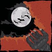 Werewolf Scratching a Crimson Old Paper.