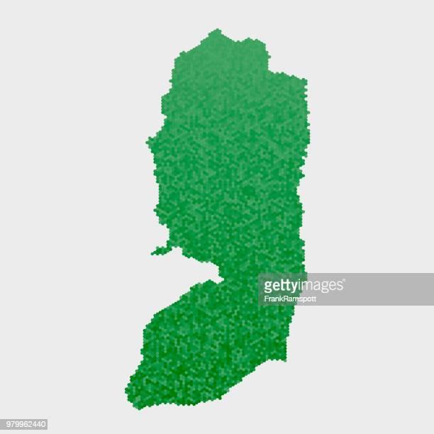 Westjordanland Land Map grünen Sechseck-Muster