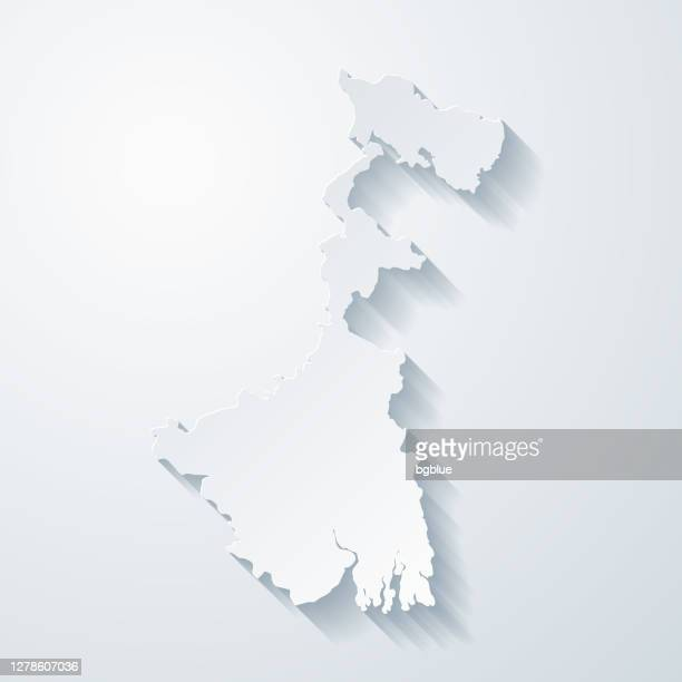 west bengal map with paper cut effect on blank background - west bengal stock illustrations