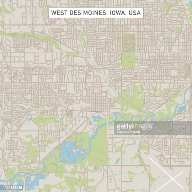 west des moines iowa us city street map - des moines iowa stock illustrations