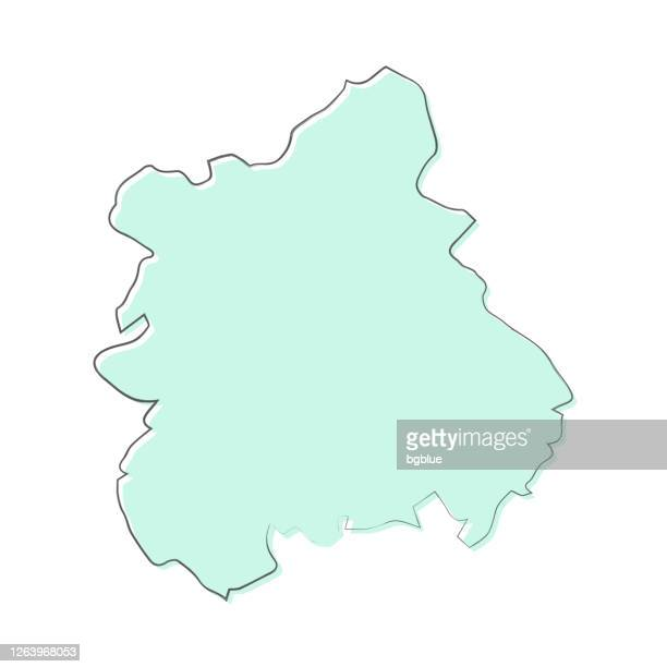 west midlands map hand drawn on white background - trendy design - west midlands stock illustrations