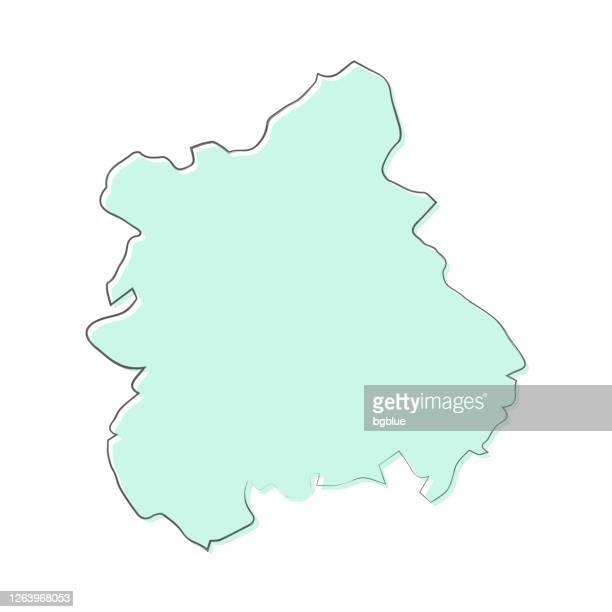 west midlands map hand drawn on white background - trendy design - west midlands stock illustrations