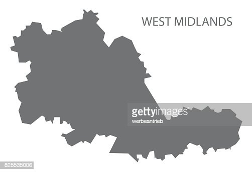 west midlands metropolitan county map england uk grey illustration silhouette shape vector art getty images